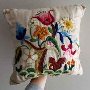 Vintage embroidered spring floral ACCENT PILLOW